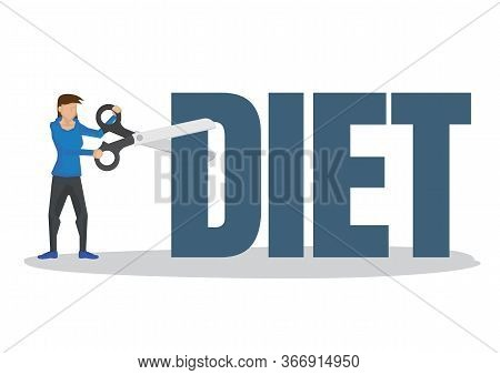 Girl Using A Giant Scissor To Cut A Diet Block. Concept Of Weight Loss, Trimming, Healthy Lifestyle