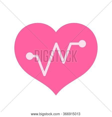 Pink Hearts Shape With Beat Pulse Line Isolated On White, Heart Wave Icon Flat, Shaped Heart And Bea