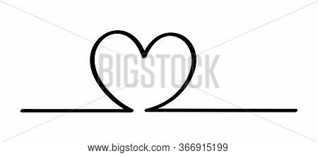 Doodle Heart Shape In A Line Black Isolated On White, Heart Shape On A Line Strip Row, Heart Shape A