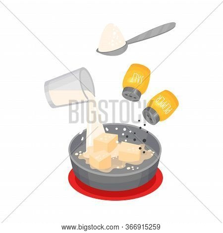 Making Of Creamy Sauce With Milk And Butter For Lasagne Preparation Vector Illustration