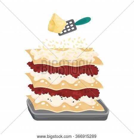 Grating Parmesan Cheese On Top Of Raw Pasta Sheet With Meat Stuffing For Lasagne Preparation Vector