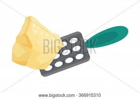 Grating Parmesan Cheese For Lasagne Preparation Vector Illustration