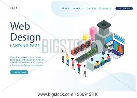 Modern Web Landing Page Isometric Smart Bitcoin Mining Illustration. Suitable For Diagrams, Infograp