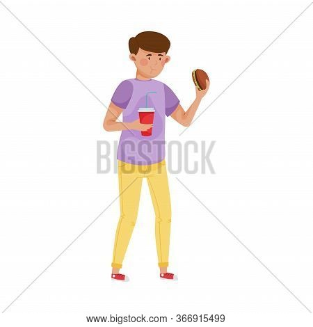 Sad Man Eating Fast Food To Reduce Stress Vector Illustration