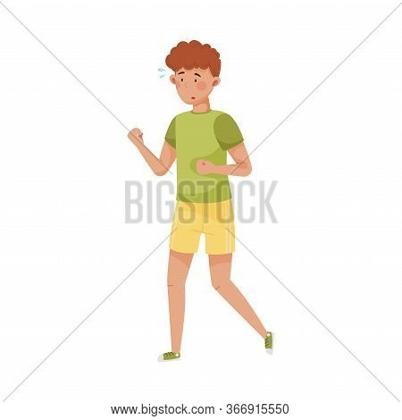 Young Man In Sportive Wear Running To Reduce Stress Vector Illustration