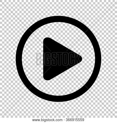 Circle Play Icon For Video Isolated And Transparent, Flat Button Play Media, Icon Play For Music And