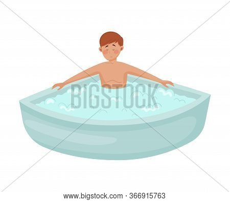 Young Man Character Rested In Bath Tub With Foam To Reduce Stress Vector Illustration