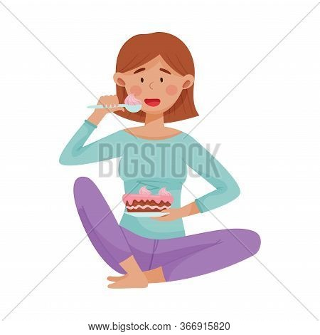 Sad Woman Sitting And Eating Cake To Reduce Stress Vector Illustration
