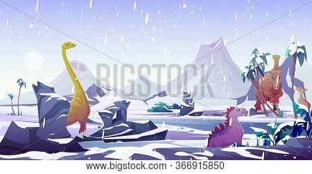 Dinosaurs In Ice Age. Animals Extinction By Cold In Arctic Winter. Vector Cartoon Prehistoric Landsc