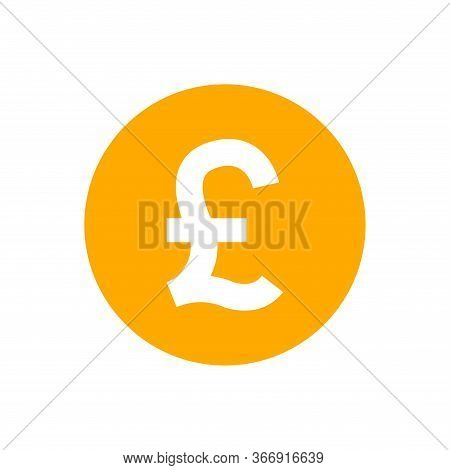 Pound Currency Coin Orange For Icon Isolated On White, Pound Money For App Symbol, Simple Flat Pound
