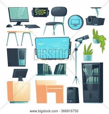 Furniture In School Computer Classroom. Vector Cartoon Set Of College Or University Class Interior W