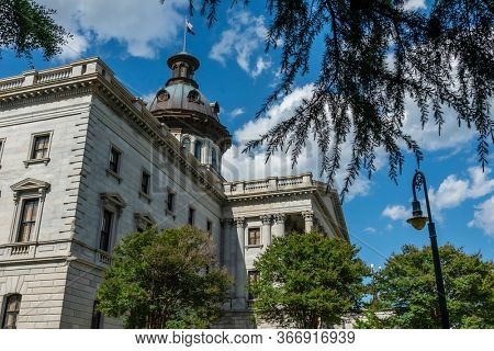 May 06, 2020 - Columbia, South Carolina, USA: The exterior of the South Carolina State House in Columbia, South Carolina.