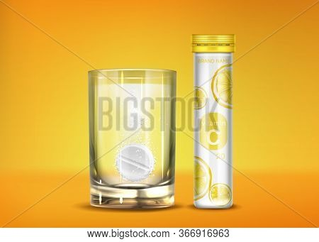 Effervescent Vitamin C Pills With Fizz Bubbles In Water Glass And Closed Bottle. Soluble Tablets, Ph