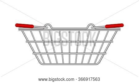 Metal Basket Empty For Supermarket Isolated On White, Shopping Basket Silver, Handle Basket Metal Si