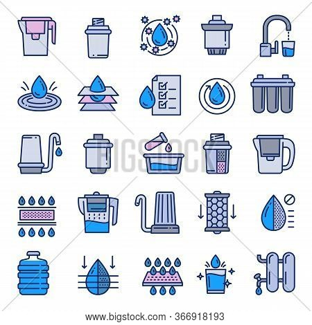 Filter Water Icons Set. Outline Set Of Filter Water Vector Icons For Web Design Isolated On White Ba