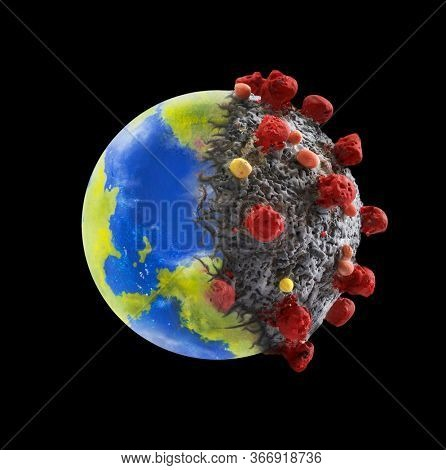 Coronavirus pandemic contagion on planet earth concept on black background.