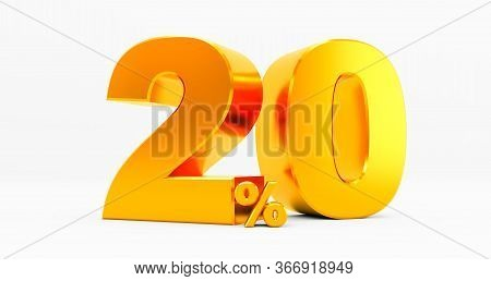 3d Rendering Of A Golden Twenty Percent On A White Background. Sale Of Special Offers. Discount With
