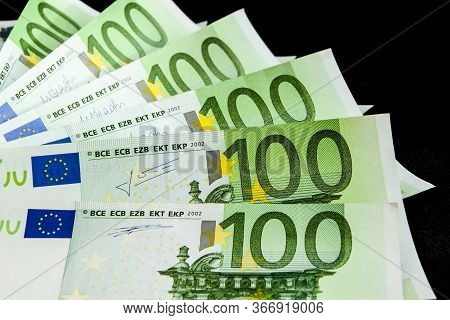 100 Euro - Full Set Of Banknotes Of Euro Isolated On Black