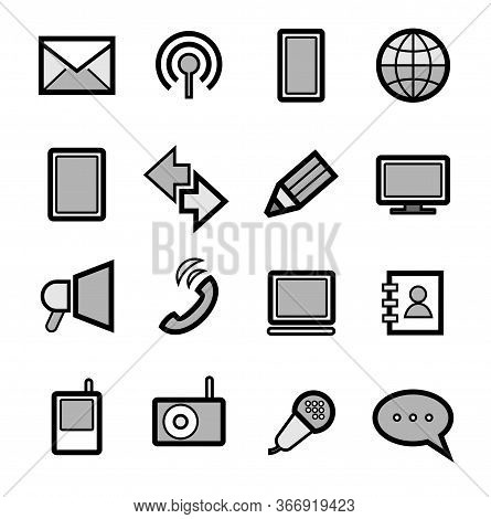 Communication Tools, Icons, Set, Gray. Modern Methods Of Communication. Black Outline And Gray Shado