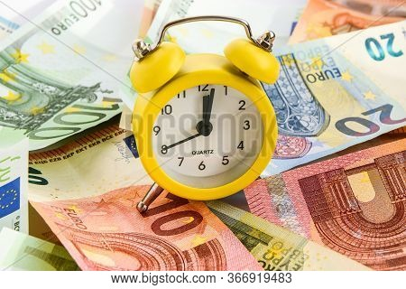Alarm Clock With Paper Euro Money 10, 20, 50, 100, Alarm Clock On Banknotes, Time Is Money