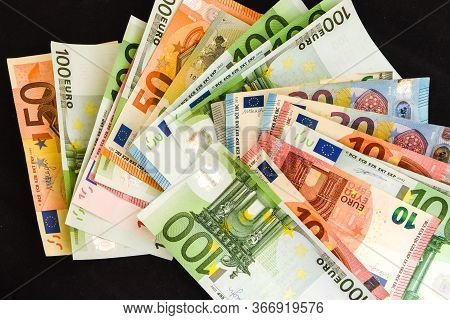 Pile Of Paper Euro Banknotes As Part Of The United Country's Payment System, Euro European Currency