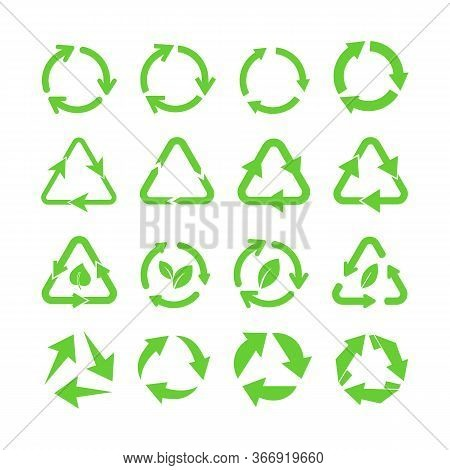 Green Eco Recycle Arrows Flat Icon Set. Reuse Waste, Reusable Trash And Biodegradable Garbage Marks