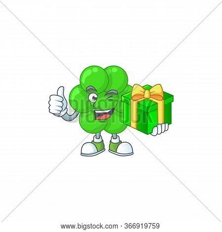 Happy Smiley Staphylococcus Aureus Cartoon Mascot Design With A Gift Box
