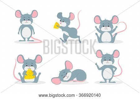 Cute Mouse Flat Icon Set. Cartoon Funny Mice Running, Sitting, Standing Holding Cheese Isolated Vect