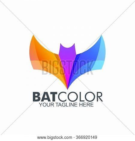 Set Of Bat Logo Colorful Design. Abstract Icon Bat Vector Illustration.