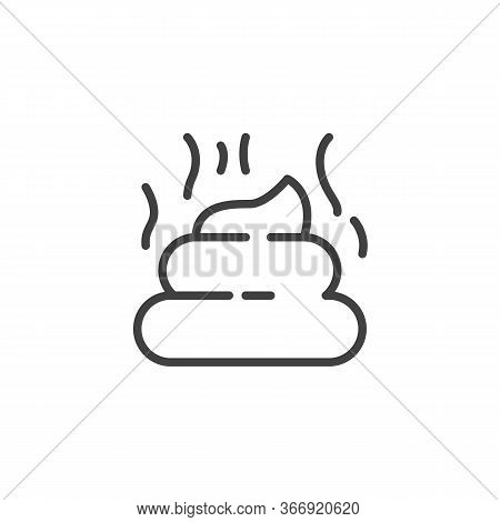 Pet Poo Line Icon. Linear Style Sign For Mobile Concept And Web Design. Stinky Poo Outline Vector Ic
