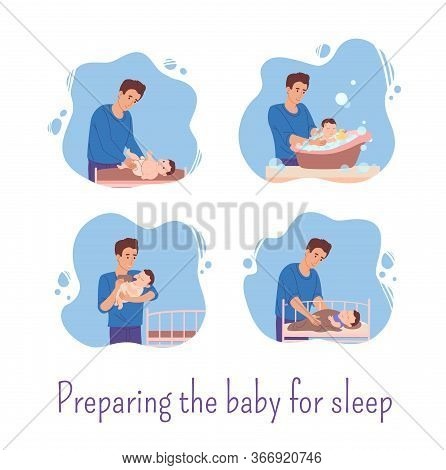 Dad Stayed Home And Prepares The Baby For Bed: He Changes The Diaper For The Baby, Bathes Him In The
