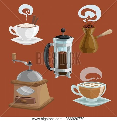 Cartoon Coffee Objects Set. Cup Of Coffee With Cinnamon Sticks, Turkish Teapot Cezve, French Press P