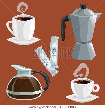 Cartoon Coffee Objects Set. Cup Of Coffee, Italian Coffee Geiser Pot, Glass Pot With Black Plastic H