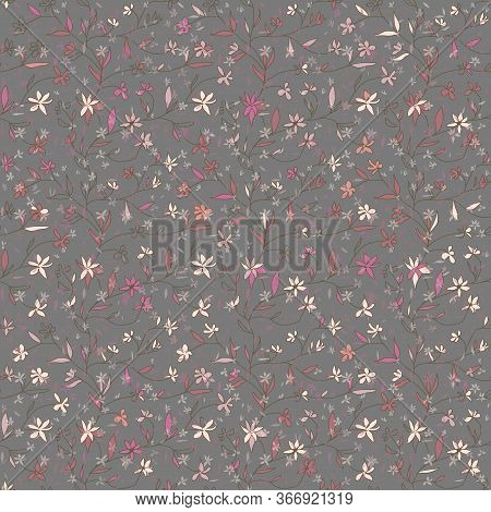 Hand Drawn Simple Twigs With Small Softness Pink Flowers On Gray Background. Nature Floral Vector Se