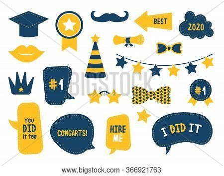 School Graduation Photo Booth Flat Icon Set. Congrats Students Design Elements Isolated Vector Illus