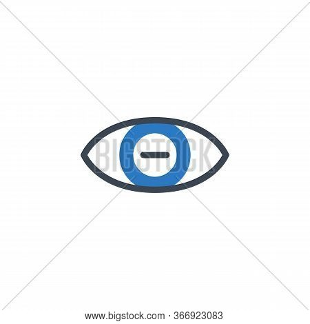Myopia Related Vector Glyph Icon. Isolated On White Background. Vector Illustration.