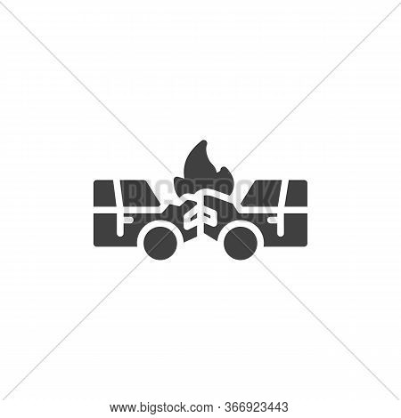 Car Crash Accident Vector Icon. Filled Flat Sign For Mobile Concept And Web Design. Auto Accident Gl