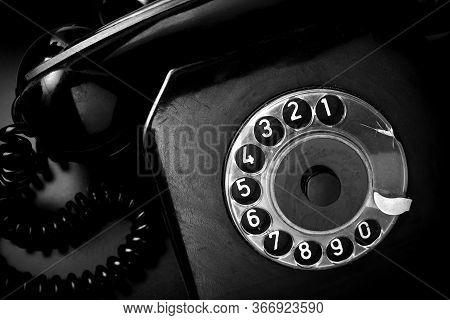 Vintage Landline Telephone In Black And White. Retro Style Telephone. Black Phone With Handset And C