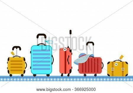 Suitcases On Airport Luggage Conveyor Belt. Travel Bag. Summer Time. Holidays. Vacation Trip. Rest T