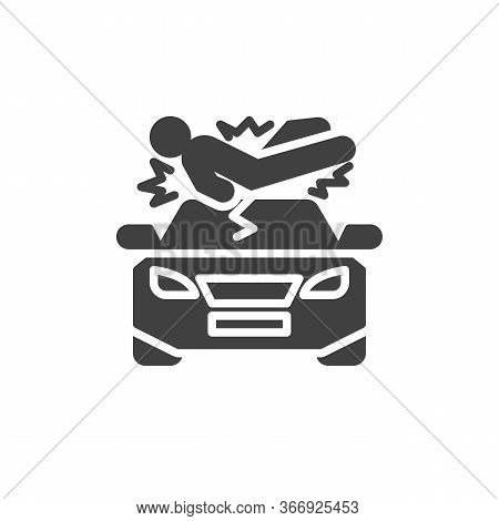Pedestrian Accident Vector Icon. Filled Flat Sign For Mobile Concept And Web Design. Pedestrian Hit