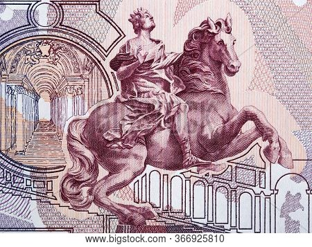 Equestrian Statue (by Bernini), Interior Of St. Peter's Basilica (vatican City) From Old Italian Mon