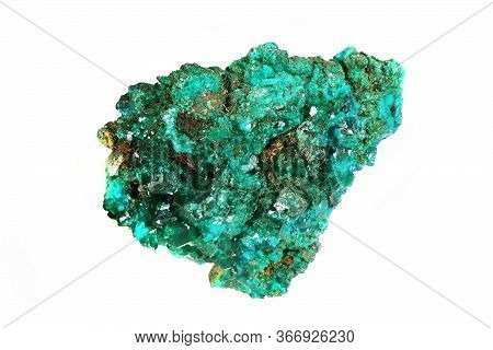 Dioptase Mineral Isolated On The White Background