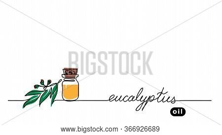 Eucalyptus Aroma Oil In The Glass Bottle. Gum-tree Leaf, Brunch. Vector One Continuous Line Drawing