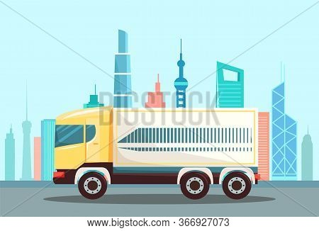 Large Truck On Urban Asphalted Highway, Road. Vehicle To Drive And Deliver Cargo To Another Place Or