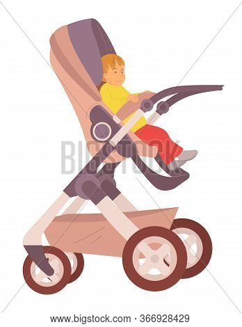 Toddler Sitting In Buggy Vector, Isolated Child Son In Perambulator, Flat Style Baby Summertime Fres