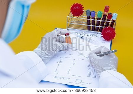 Professional Doctors Perform Testing And Analyzing Samples Of Covid-19 Vaccines For Immunization Pre