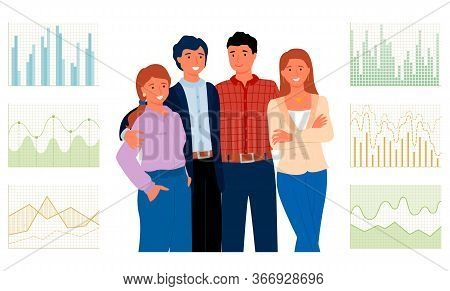 Employers Working In Team, Cooperation And Financial Analytics Concept. Vector Data Statistics, Grap