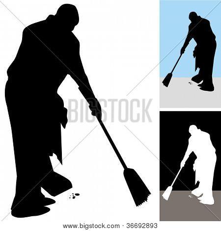 An image of a man sweeping floors.