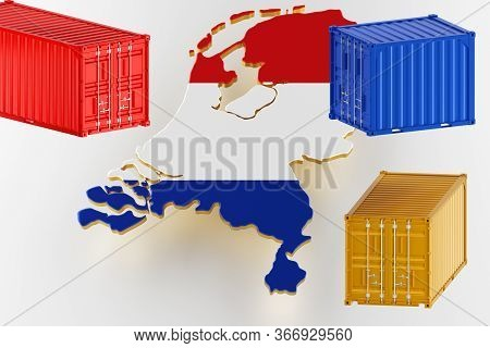 3d Map Of Netherlands. Freight Shipping In Containers. Export From The Country In Containers. 3d Ren