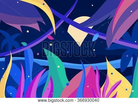 Vibrant Full Moon Night In The Jungle. Colorful 2d Postcard With Palms, Flowers And Fireflies. Fanta